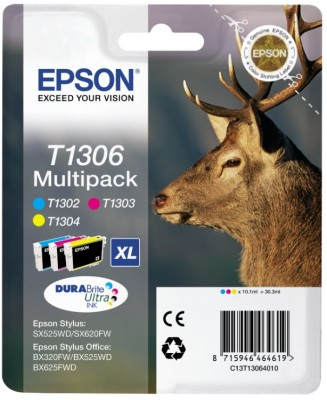 EPSON - T1306 - RENNA - PACK 3 INK - CIANO/MAGENTA/GIALLO PER EPSON STYLUS - 1CONF. - C13T13064020