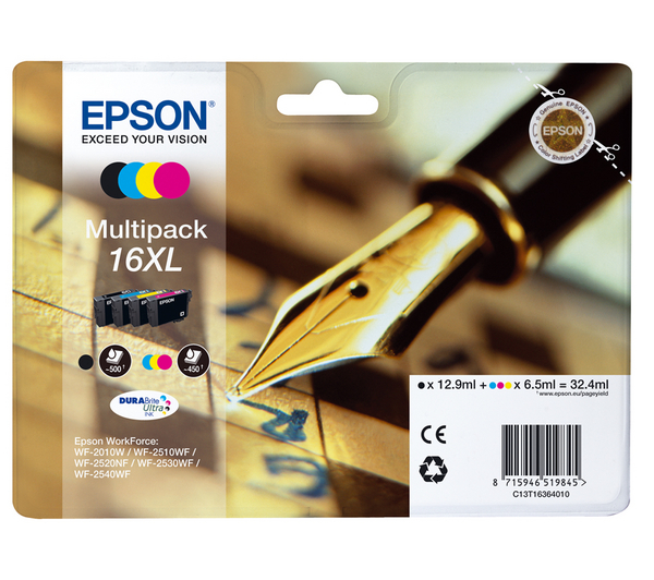 EPSON - 16XL -PACK - PENNA E CRUCIVERBA - MULTIPACK XL BK/C/M/Y PER WORKFORCE (32.4ML) - C13T16364020